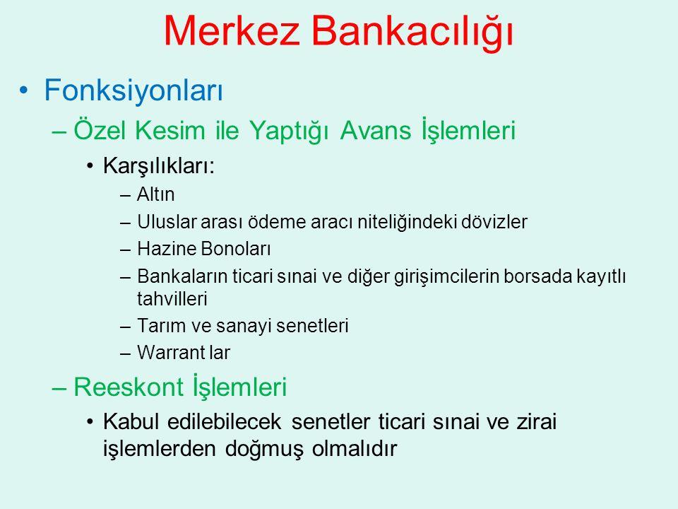 Merkez Bankacılığı Fonksiyonları