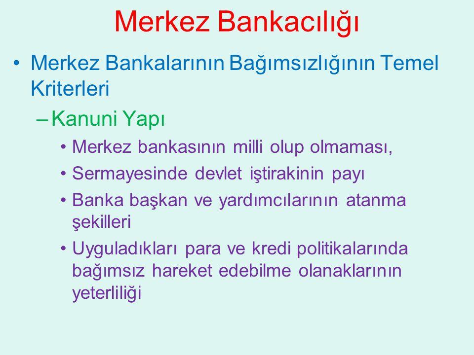 Merkez Bankacılığı Merkez Bankalarının Bağımsızlığının Temel Kriterleri. Kanuni Yapı. Merkez bankasının milli olup olmaması,