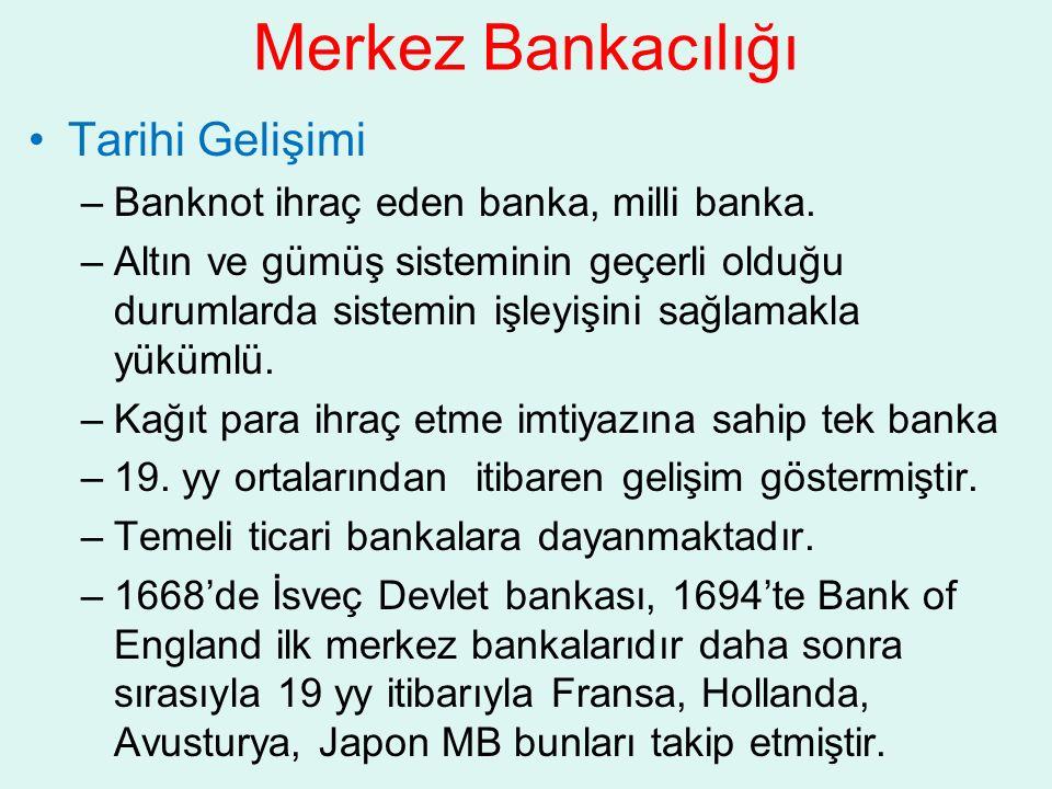 Merkez Bankacılığı Tarihi Gelişimi