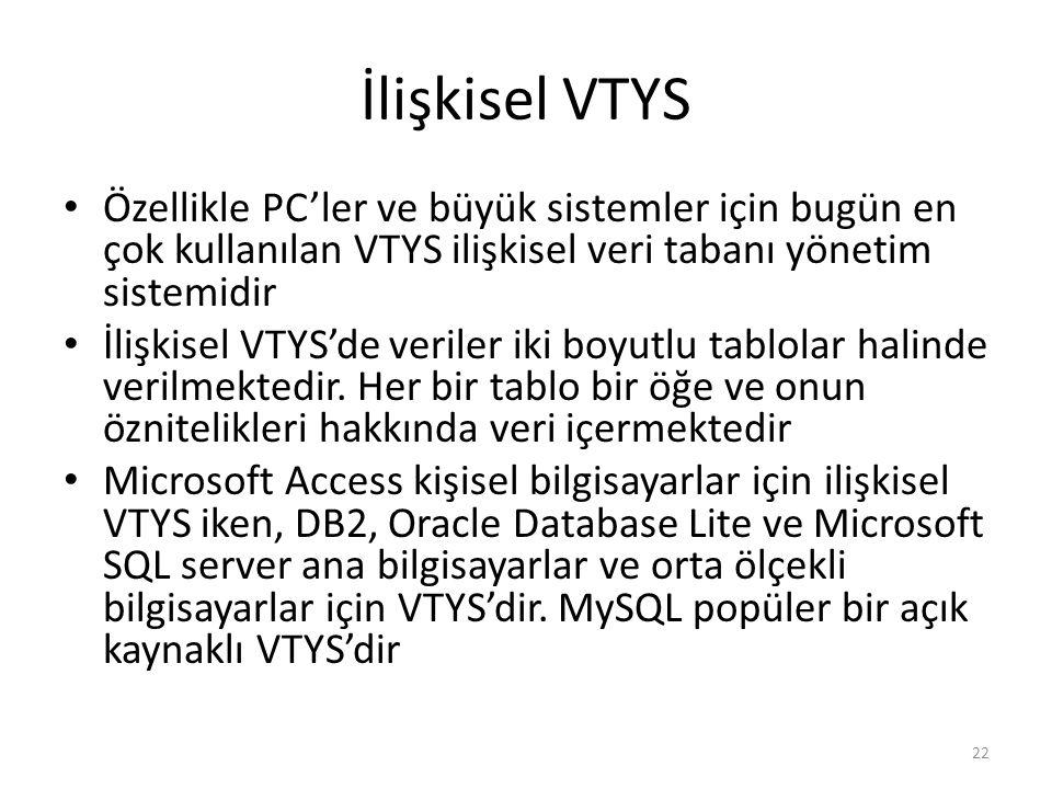 İlişkisel VTYS Özellikle PC'ler ve büyük sistemler için bugün en çok kullanılan VTYS ilişkisel veri tabanı yönetim sistemidir.