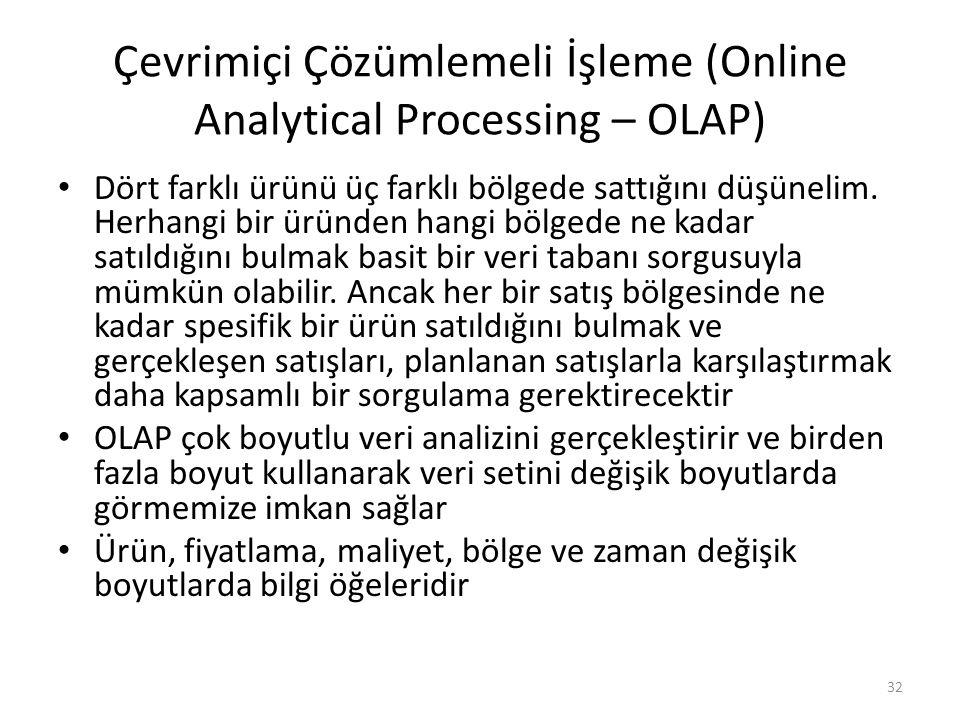 Çevrimiçi Çözümlemeli İşleme (Online Analytical Processing – OLAP)
