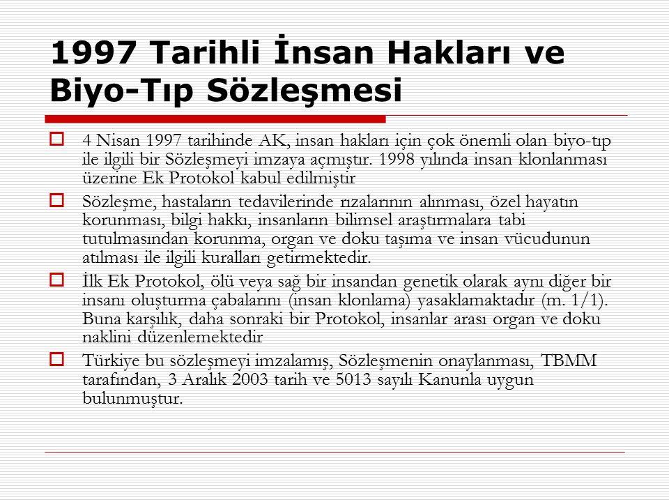 1997 Tarihli İnsan Hakları ve Biyo-Tıp Sözleşmesi