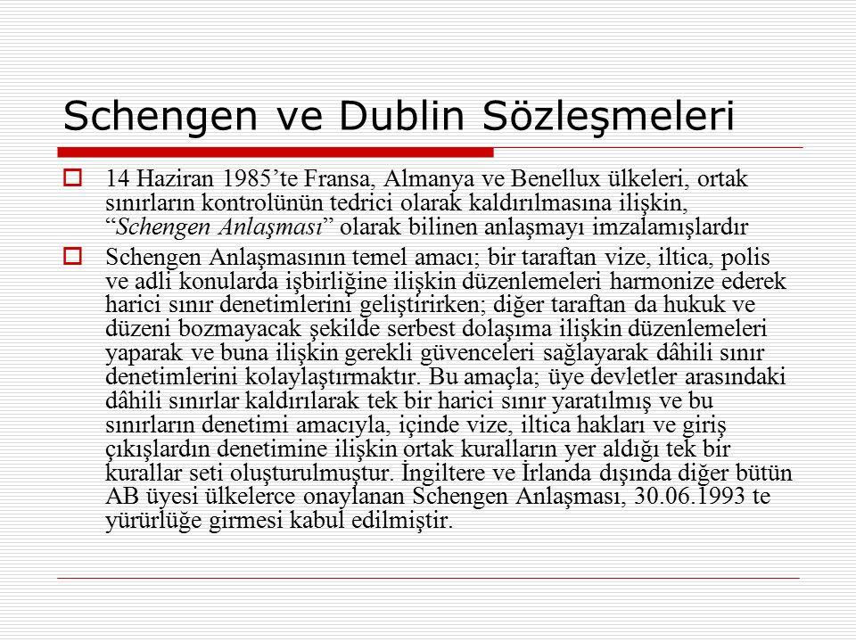Schengen ve Dublin Sözleşmeleri