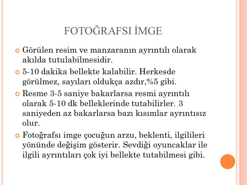 FOTOĞRAFSI İMGE Görülen resim ve manzaranın ayrıntılı olarak akılda tutulabilmesidir.