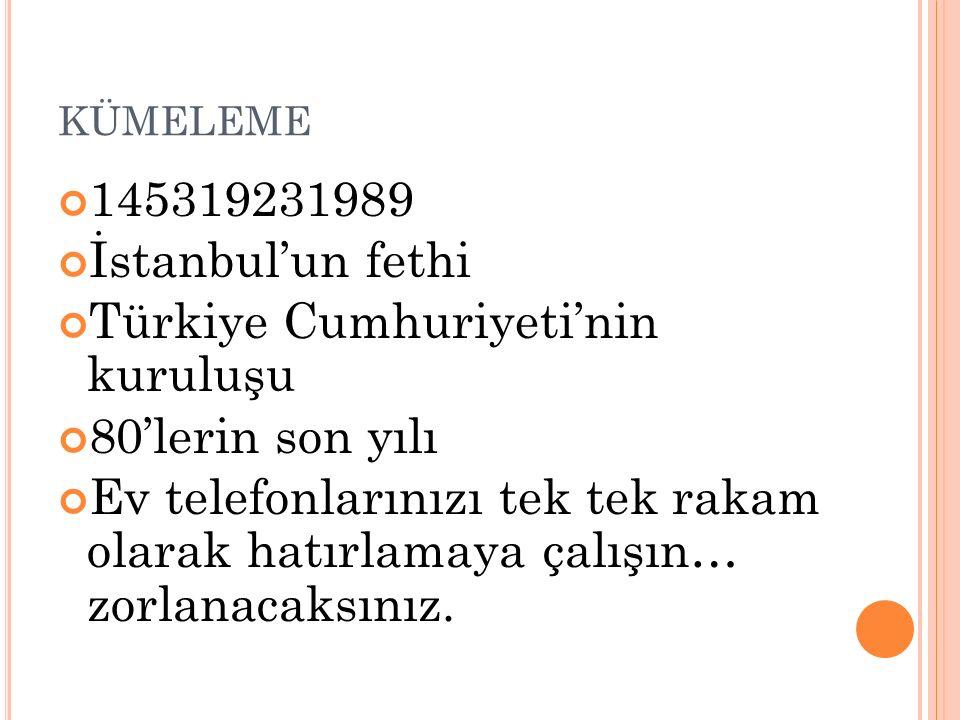 Türkiye Cumhuriyeti'nin kuruluşu 80'lerin son yılı