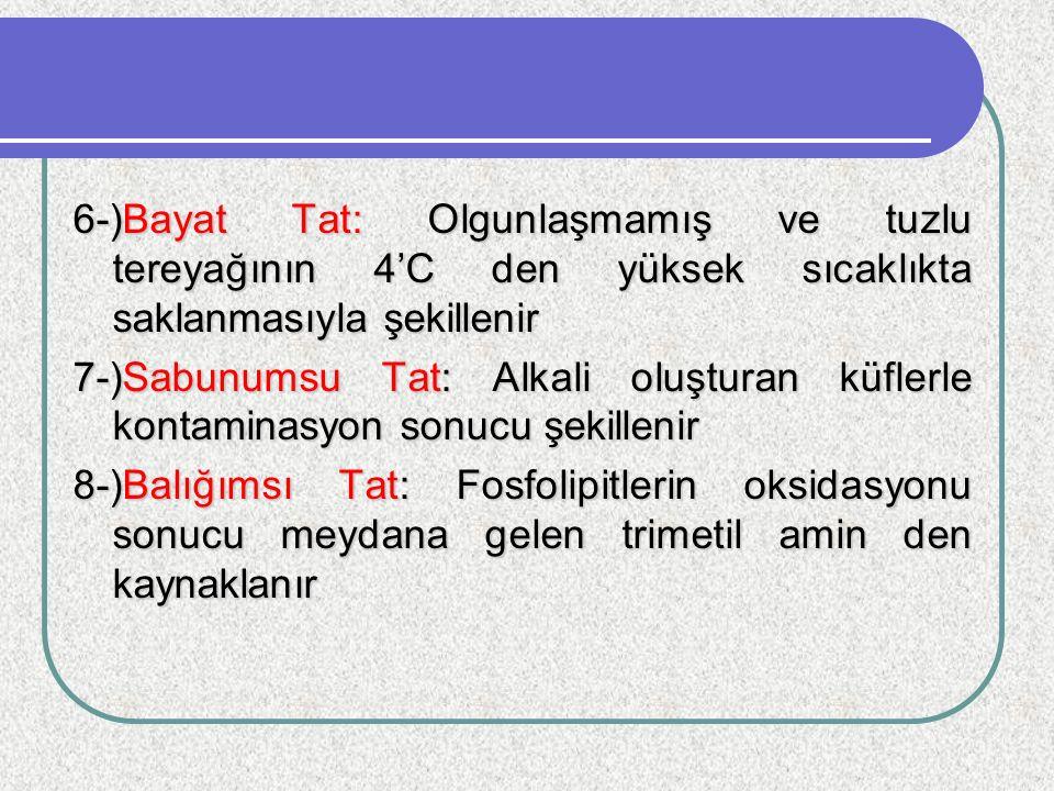 6-)Bayat Tat: Olgunlaşmamış ve tuzlu tereyağının 4'C den yüksek sıcaklıkta saklanmasıyla şekillenir