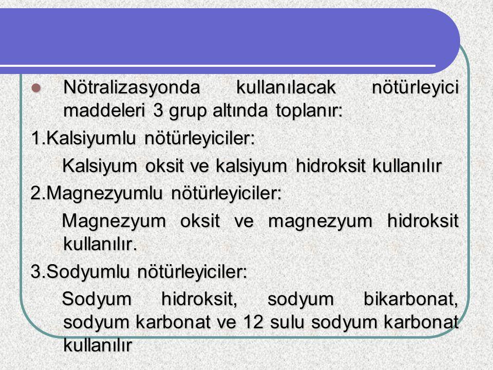 Nötralizasyonda kullanılacak nötürleyici maddeleri 3 grup altında toplanır: