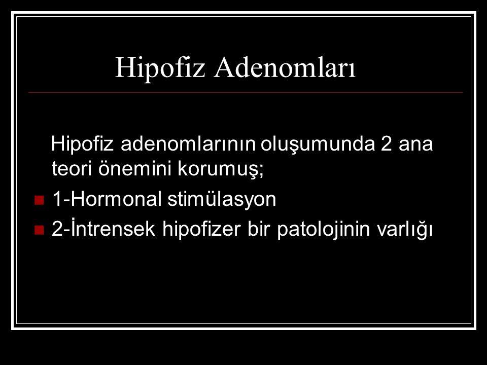 Hipofiz Adenomları Hipofiz adenomlarının oluşumunda 2 ana teori önemini korumuş; 1-Hormonal stimülasyon.