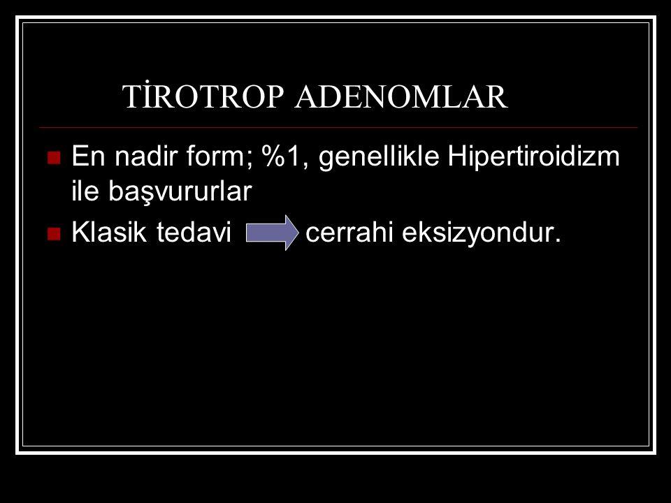 TİROTROP ADENOMLAR En nadir form; %1, genellikle Hipertiroidizm ile başvururlar.