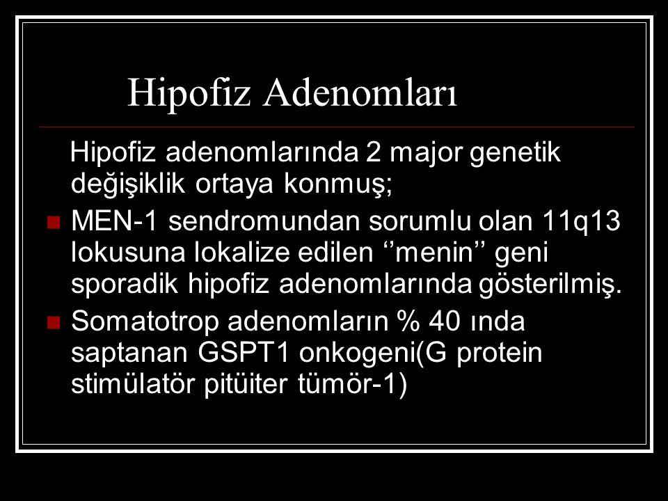 Hipofiz Adenomları Hipofiz adenomlarında 2 major genetik değişiklik ortaya konmuş;