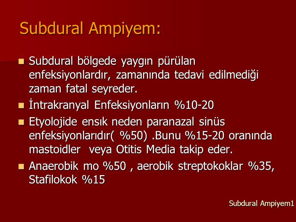 Subdural Ampiyem: Subdural bölgede yaygın pürülan enfeksiyonlardır, zamanında tedavi edilmediği zaman fatal seyreder.
