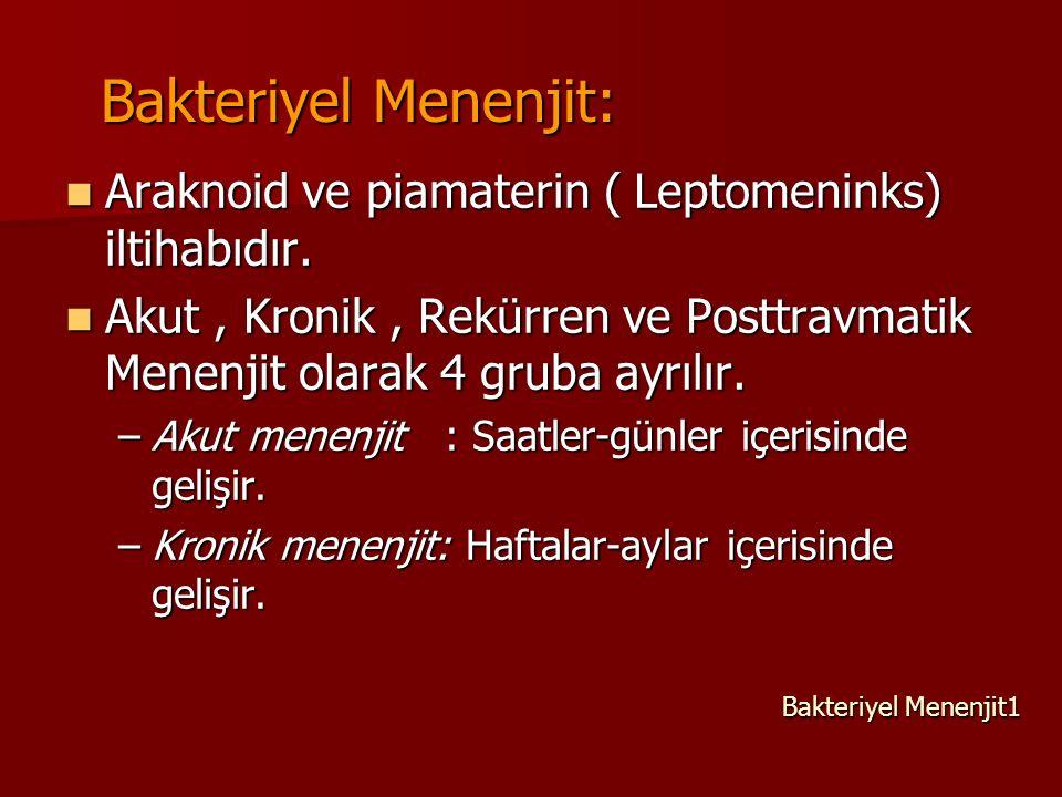 Bakteriyel Menenjit: Araknoid ve piamaterin ( Leptomeninks) iltihabıdır. Akut , Kronik , Rekürren ve Posttravmatik Menenjit olarak 4 gruba ayrılır.