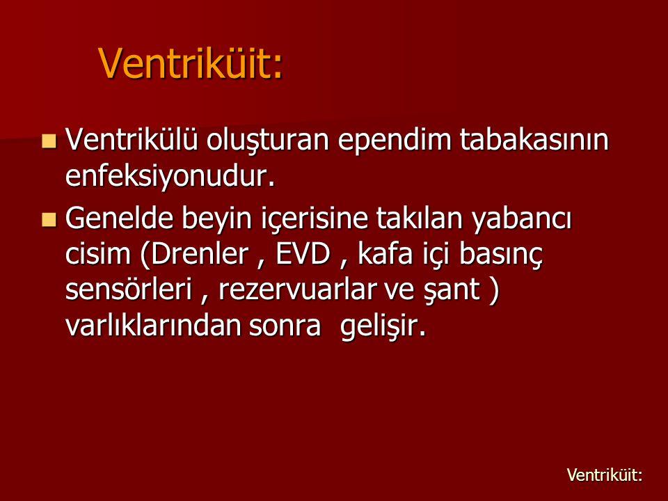 Ventriküit: Ventrikülü oluşturan ependim tabakasının enfeksiyonudur.