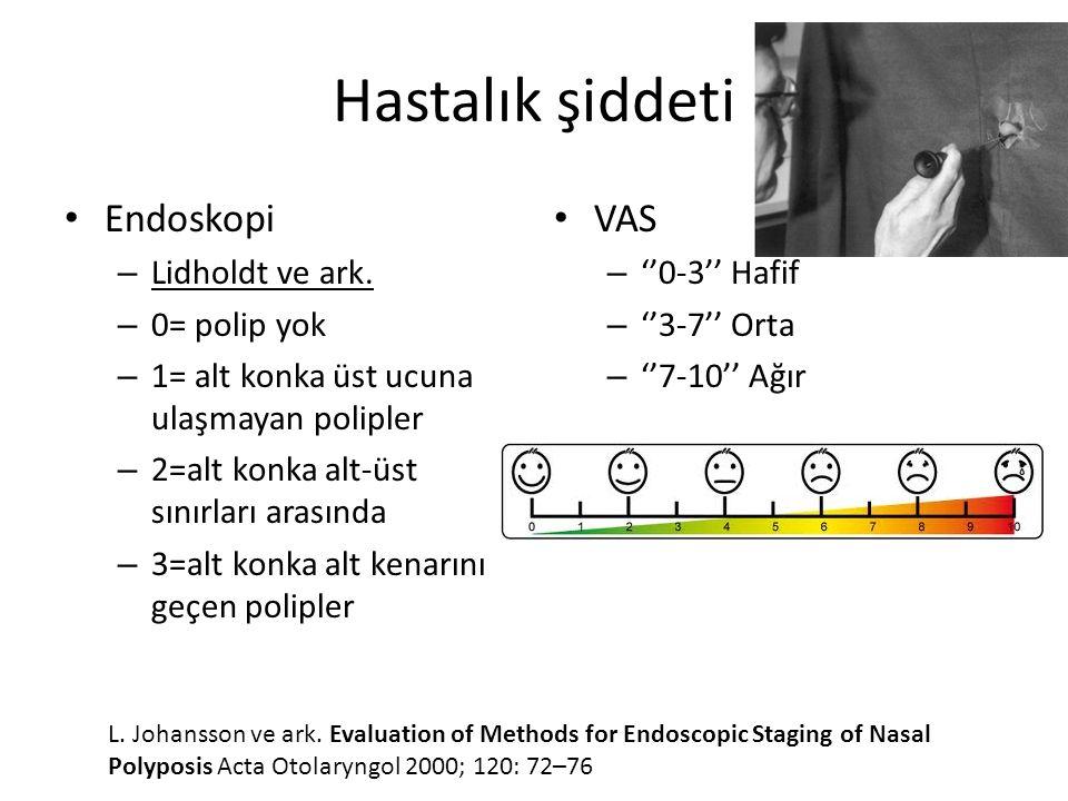 Hastalık şiddeti Endoskopi VAS Lidholdt ve ark. 0= polip yok