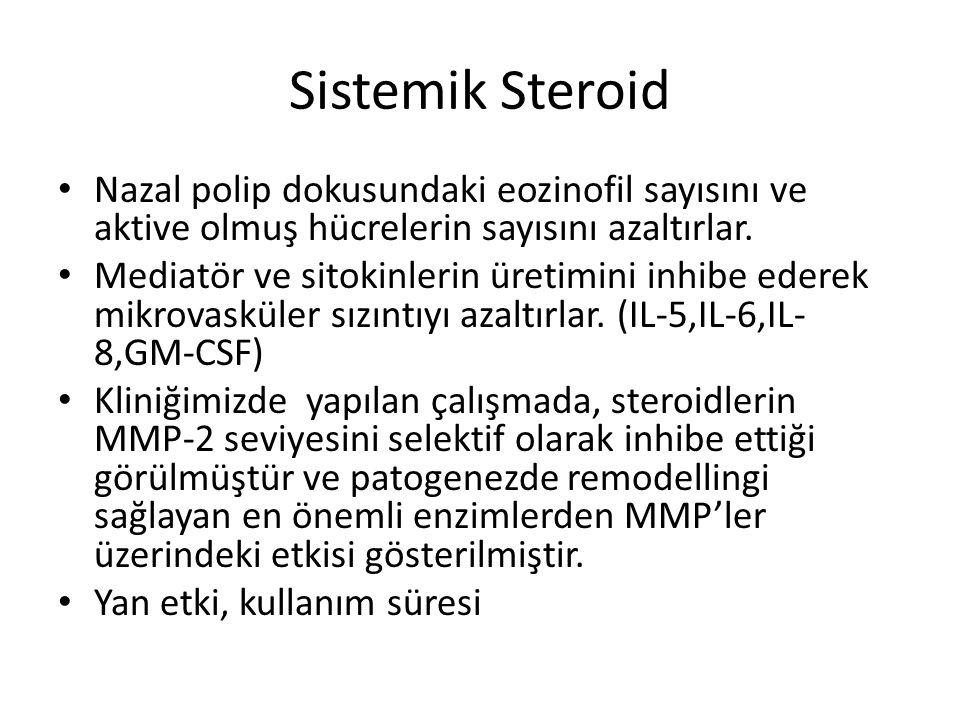 Sistemik Steroid Nazal polip dokusundaki eozinofil sayısını ve aktive olmuş hücrelerin sayısını azaltırlar.