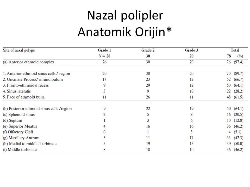 Nazal polipler Anatomik Orijin*