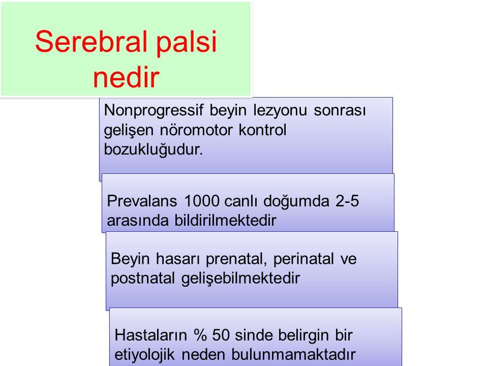 Serebral palsi nedir Nonprogressif beyin lezyonu sonrası gelişen nöromotor kontrol bozukluğudur.