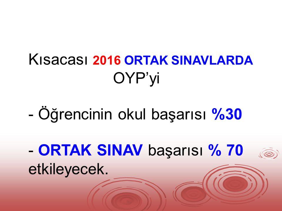 Kısacası 2016 ORTAK SINAVLARDA OYP'yi