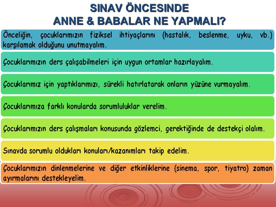 SINAV ÖNCESINDE ANNE & BABALAR NE YAPMALI
