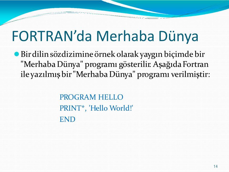 FORTRAN'da Merhaba Dünya