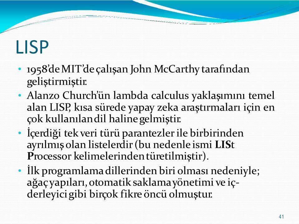 LISP 1958'de MIT'de çalışan John McCarthy tarafından geliştirmiştir.