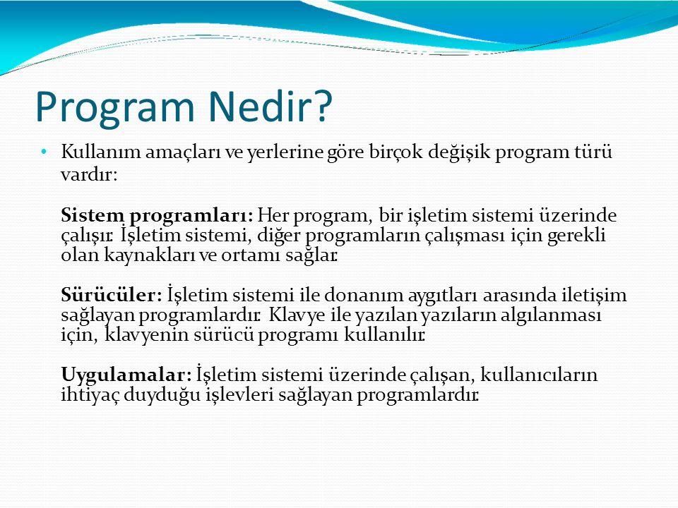 Program Nedir Kullanım amaçları ve yerlerine göre birçok değişik program türü. vardır: