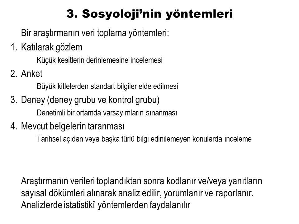 3. Sosyoloji'nin yöntemleri