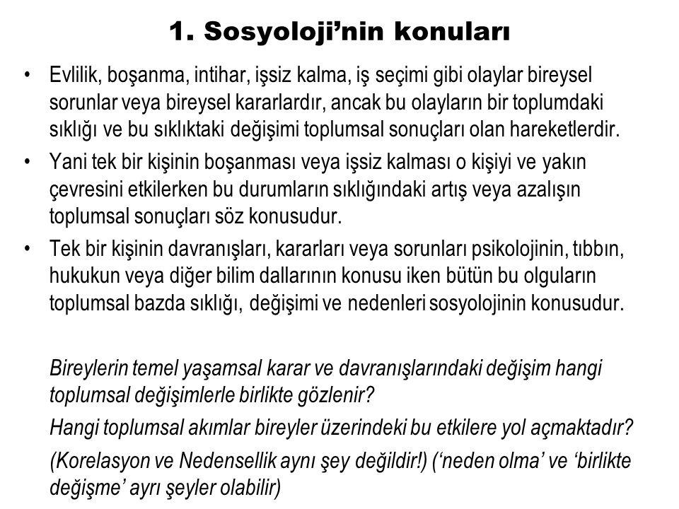 1. Sosyoloji'nin konuları