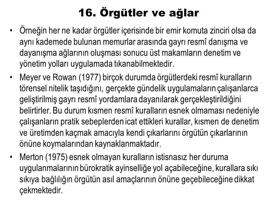 16. Örgütler ve ağlar