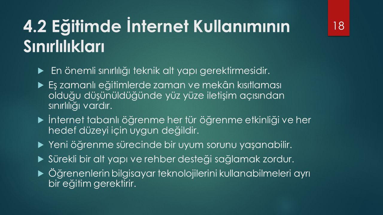 4.2 Eğitimde İnternet Kullanımının Sınırlılıkları