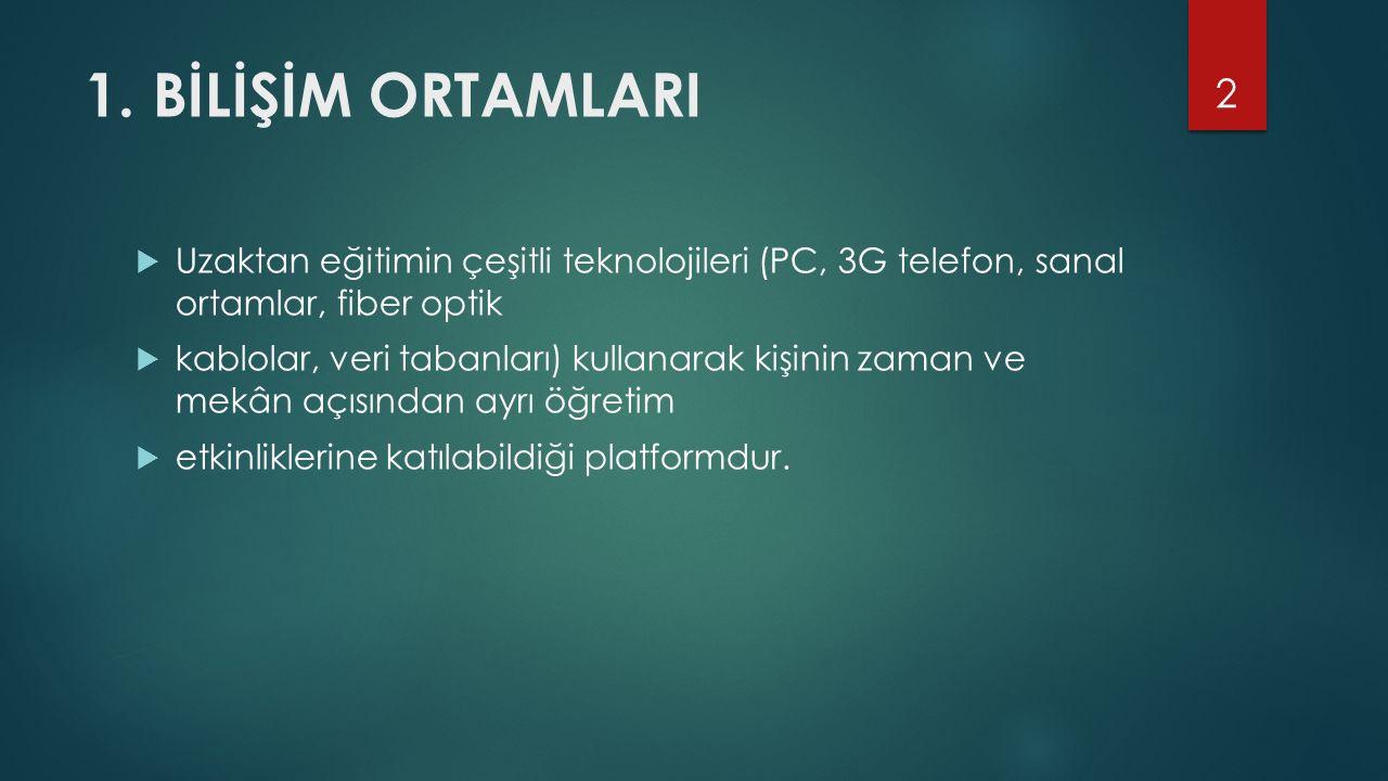 1. BİLİŞİM ORTAMLARI Uzaktan eğitimin çeşitli teknolojileri (PC, 3G telefon, sanal ortamlar, fiber optik.