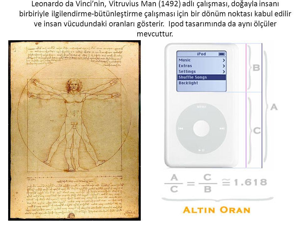 Leonardo da Vinci'nin, Vitruvius Man (1492) adlı çalışması, doğayla insanı birbiriyle ilgilendirme-bütünleştirme çalışması için bir dönüm noktası kabul edilir ve insan vücudundaki oranları gösterir.