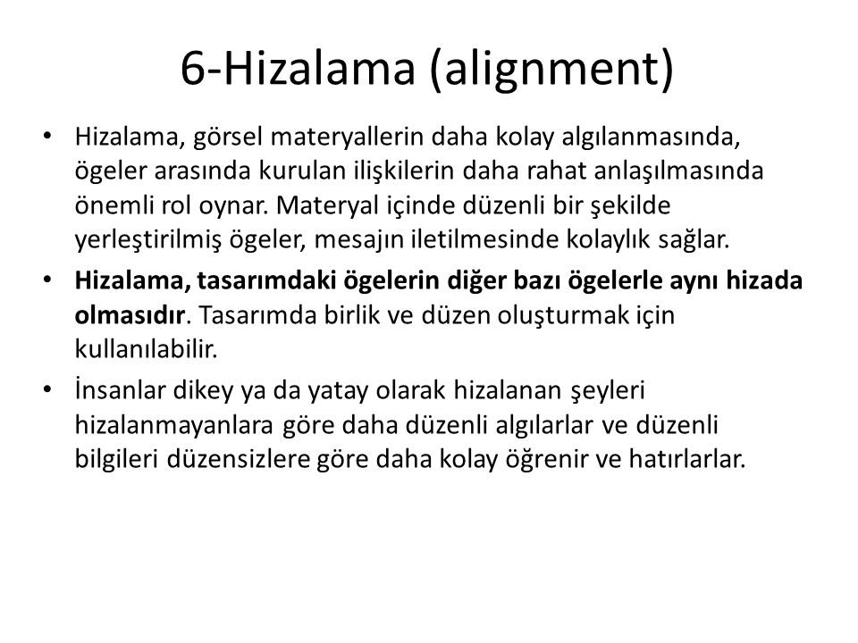 6-Hizalama (alignment)