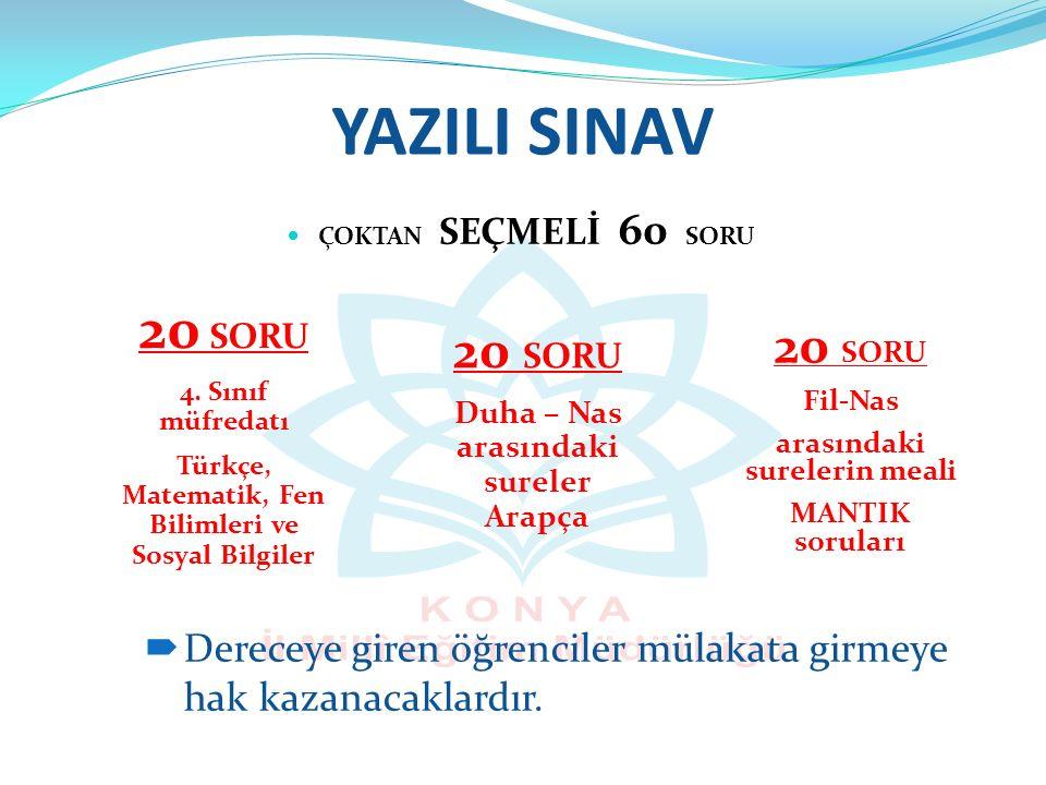 YAZILI SINAV 20 SORU 20 SORU 20 SORU