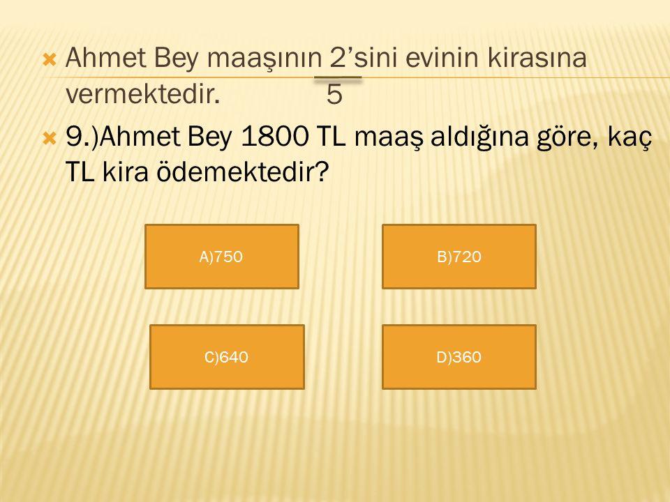 Ahmet Bey maaşının 2'sini evinin kirasına vermektedir.
