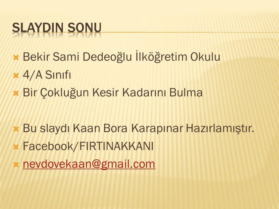 SlaydIn sonu Bekir Sami Dedeoğlu İlköğretim Okulu 4/A Sınıfı