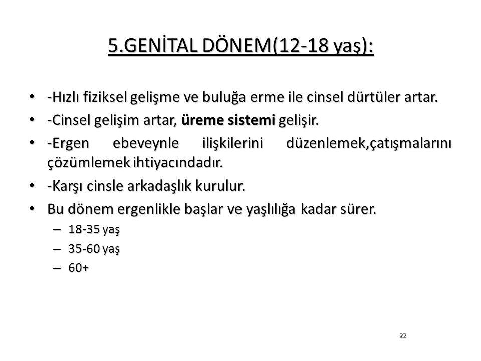 5.GENİTAL DÖNEM(12-18 yaş): -Hızlı fiziksel gelişme ve buluğa erme ile cinsel dürtüler artar. -Cinsel gelişim artar, üreme sistemi gelişir.