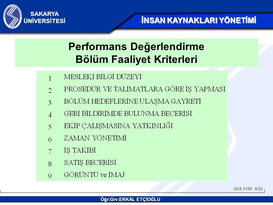 Performans Değerlendirme Bölüm Faaliyet Kriterleri