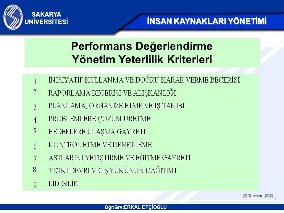 Performans Değerlendirme Yönetim Yeterlilik Kriterleri