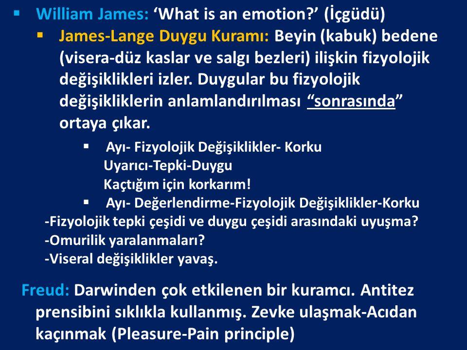 William James: 'What is an emotion ' (İçgüdü)