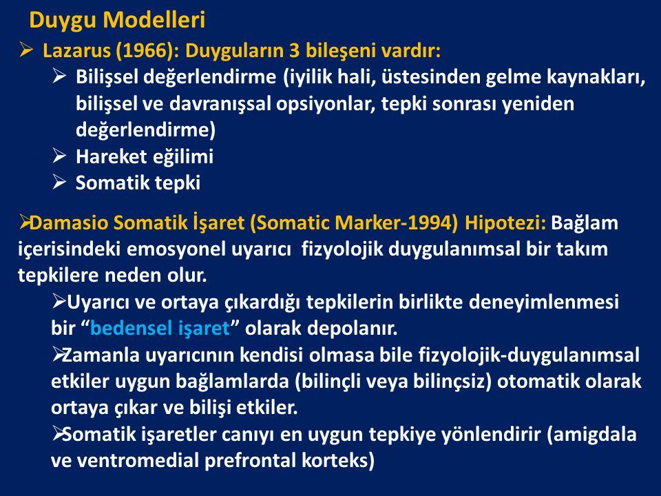 Duygu Modelleri Lazarus (1966): Duyguların 3 bileşeni vardır: