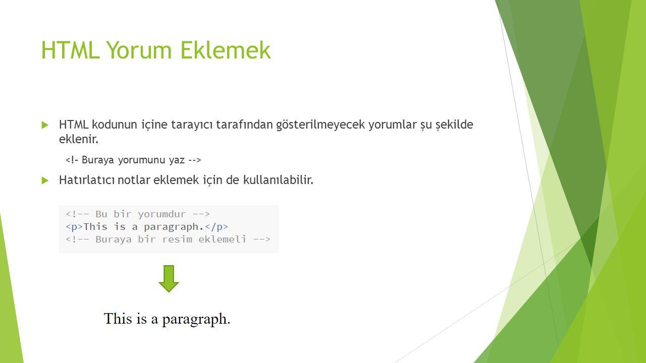 HTML Yorum Eklemek HTML kodunun içine tarayıcı tarafından gösterilmeyecek yorumlar şu şekilde eklenir.