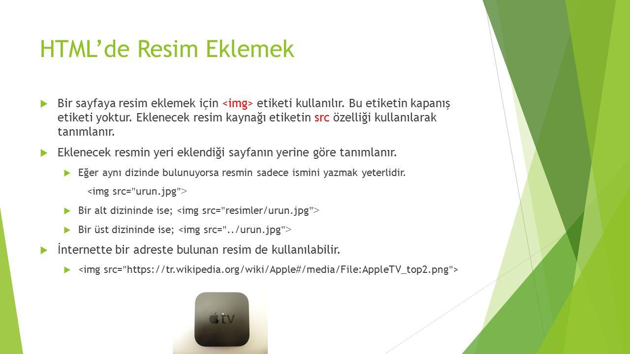 HTML'de Resim Eklemek