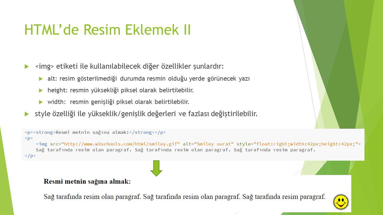 HTML'de Resim Eklemek II