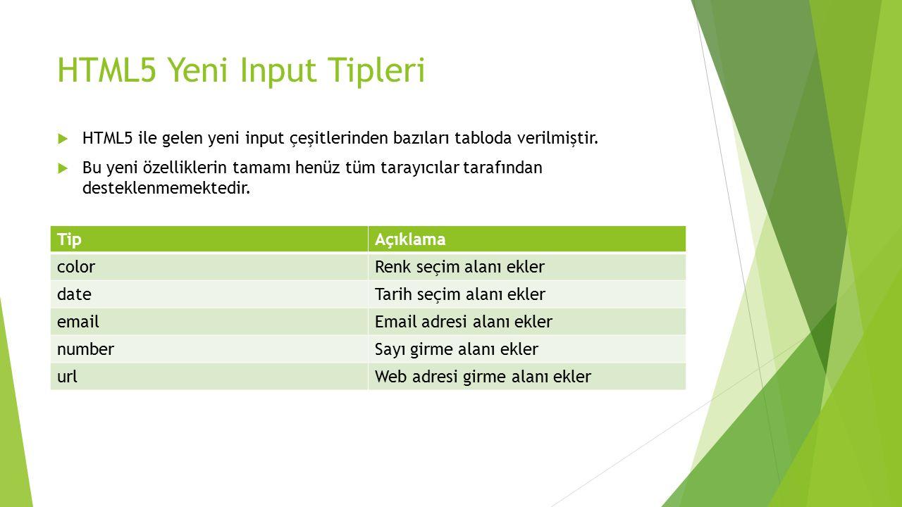HTML5 Yeni Input Tipleri