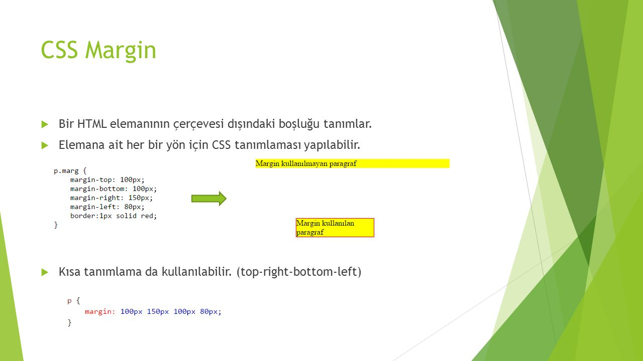 CSS Margin Bir HTML elemanının çerçevesi dışındaki boşluğu tanımlar.