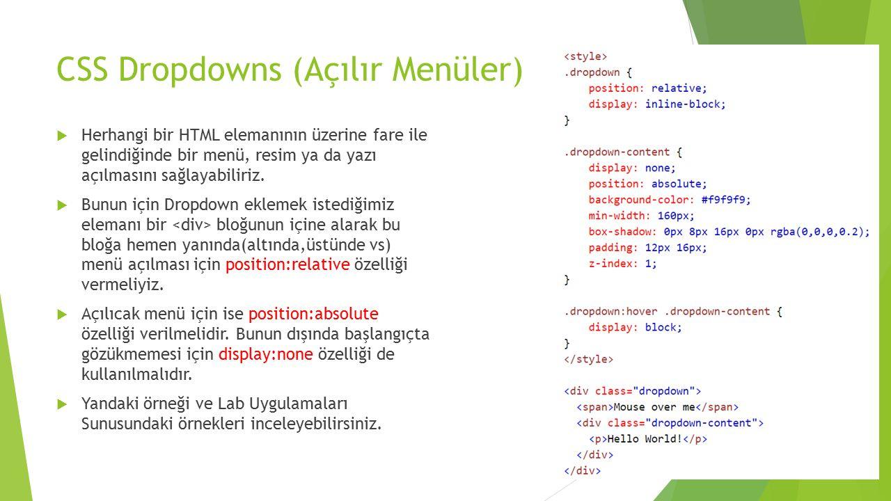 CSS Dropdowns (Açılır Menüler)