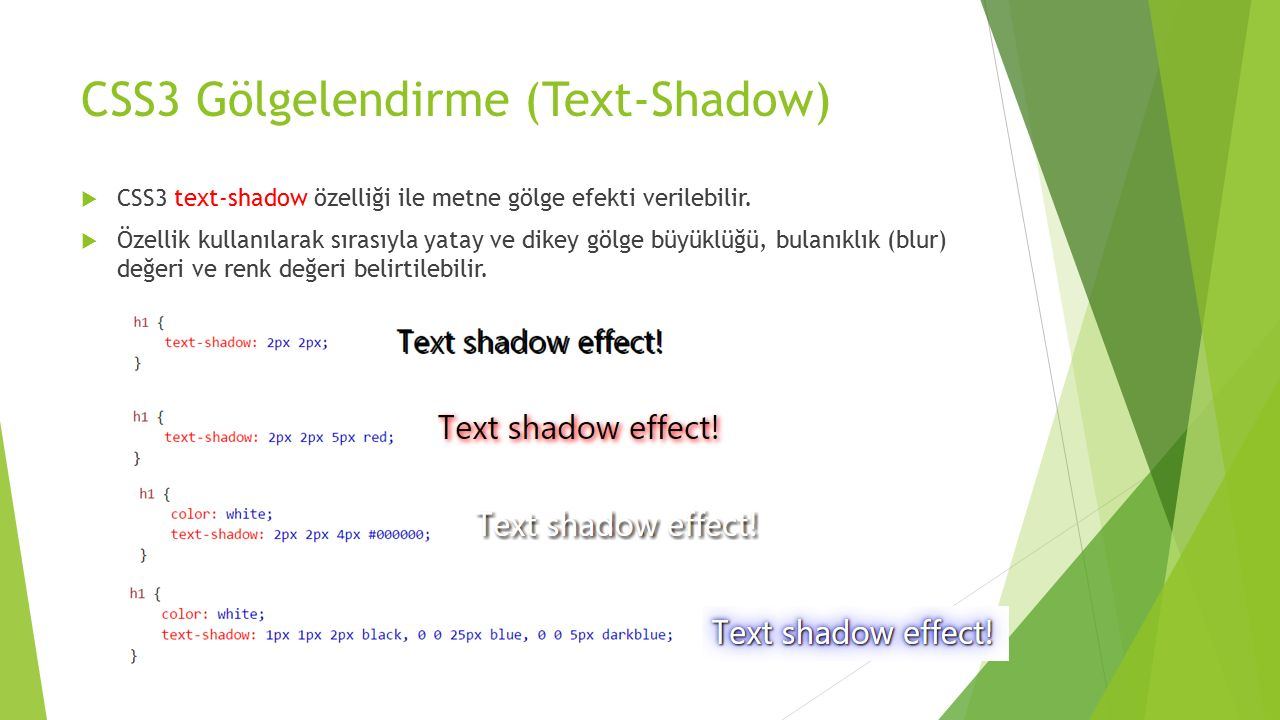 CSS3 Gölgelendirme (Text-Shadow)