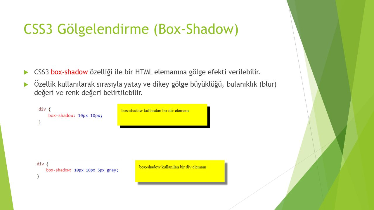 CSS3 Gölgelendirme (Box-Shadow)