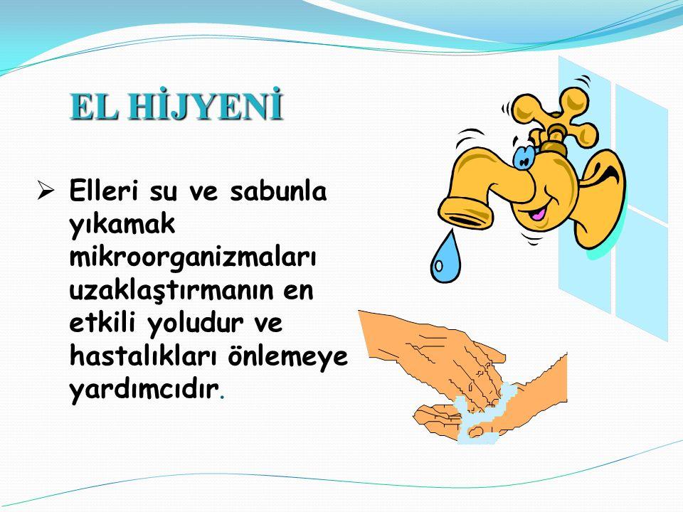 EL HİJYENİ Elleri su ve sabunla yıkamak mikroorganizmaları uzaklaştırmanın en etkili yoludur ve hastalıkları önlemeye yardımcıdır.